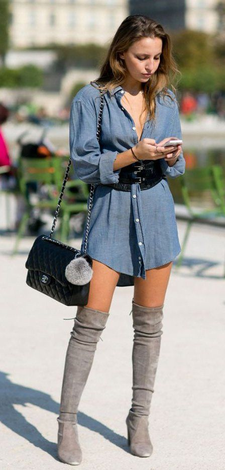Denim shirt-dress with knee-high boots + faux leather belt
