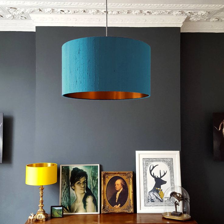 DUCK EGG INDIAN SILK HANDMADE LAMPSHADE WITH BRUSHED COPPER LINING  Add a touch of glamour to your interiors with this statement drum lampshade handmade by Love Frankie.