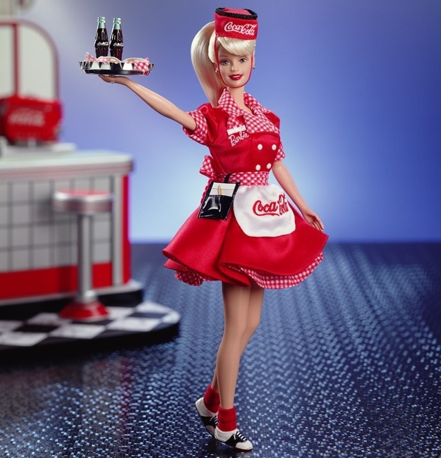 ❤Coca-Cola Collector Edition Barbie - Blonde or Brunette Waitress by Mattel 1998-99 (1st In 1950's Series)