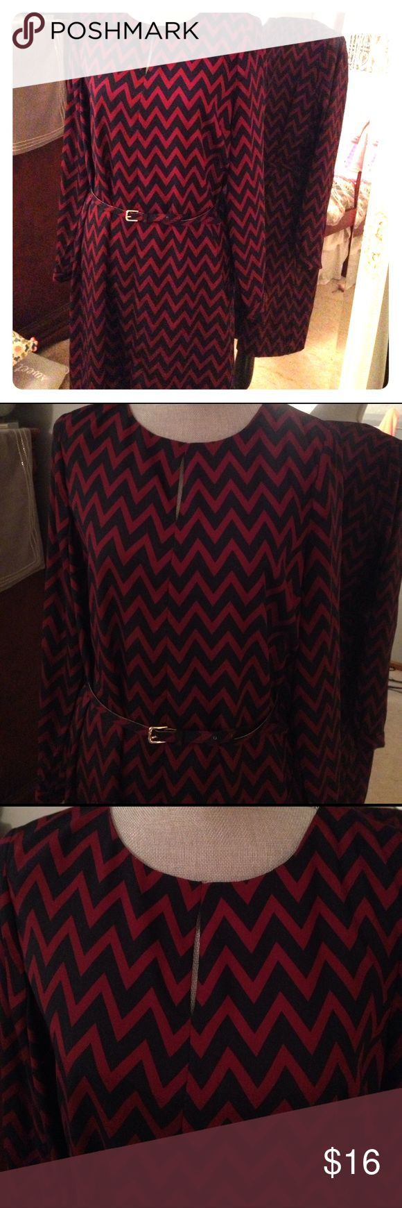 Burgundy and navy chevron dress Belt included. Small slit at chest. Long sleeves. 100% polyester. Zip up back. Worn once The Limited Dresses Long Sleeve