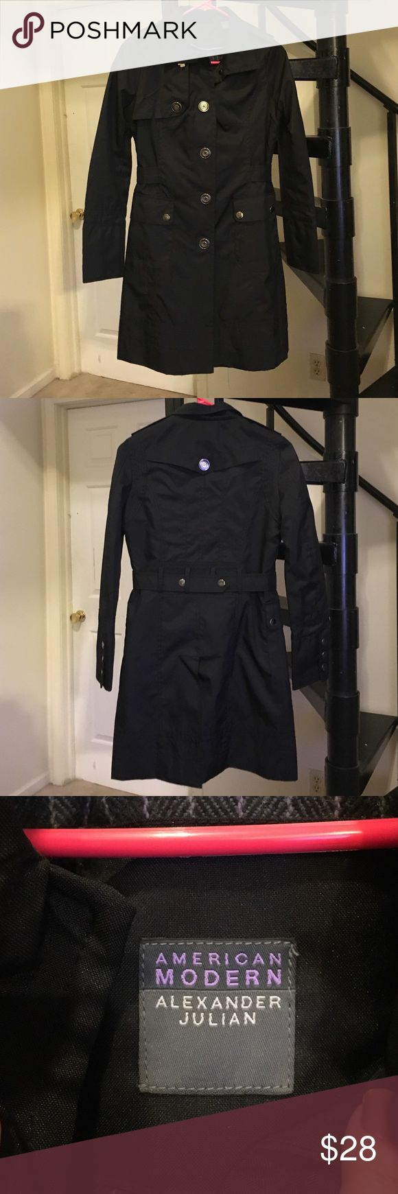 Black trench coat Super trendy trench coat! Worn once or twice, make an offer! Jackets & Coats Trench Coats
