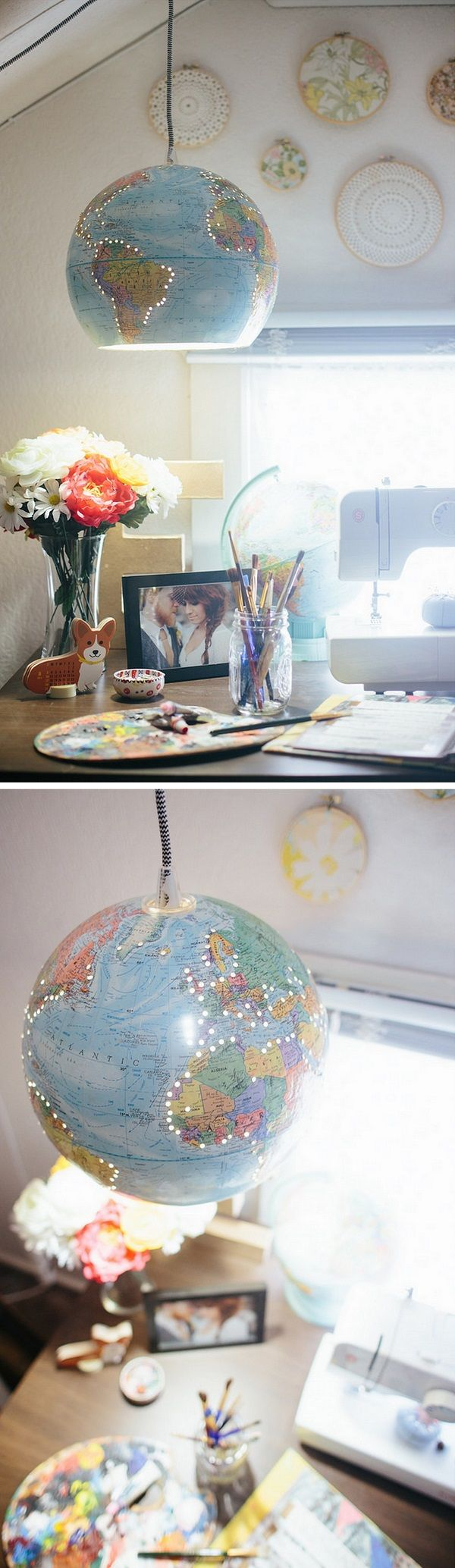 Check out the tutorial how to make this cute #DIY globe chandelier #homedecor #upcycle @istandarddesign