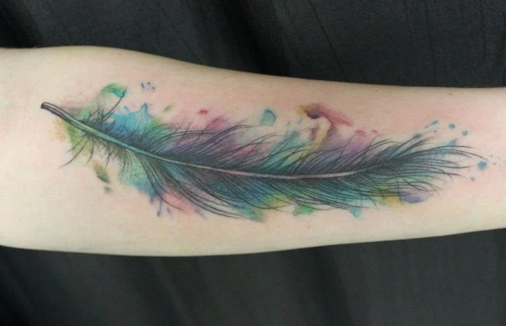 Watercolor Feather Tattoo by Living Art Studio in Northampton, MA