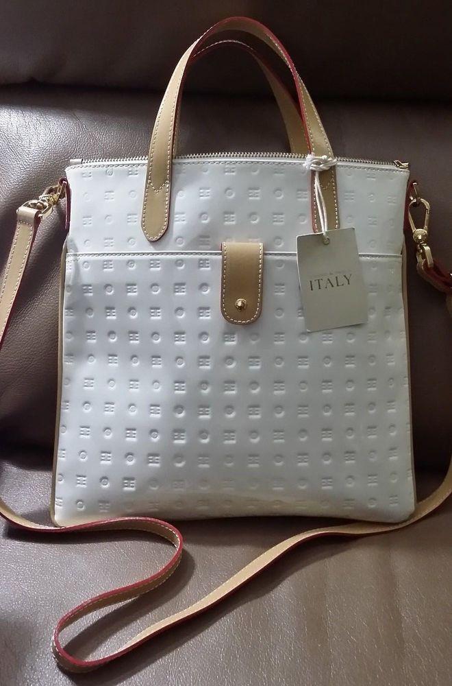 Nwt Arcadia White Patent Leather Wi Brown Red Italian Handbag Shoulder Crossbody Crossbodyshoulderbag