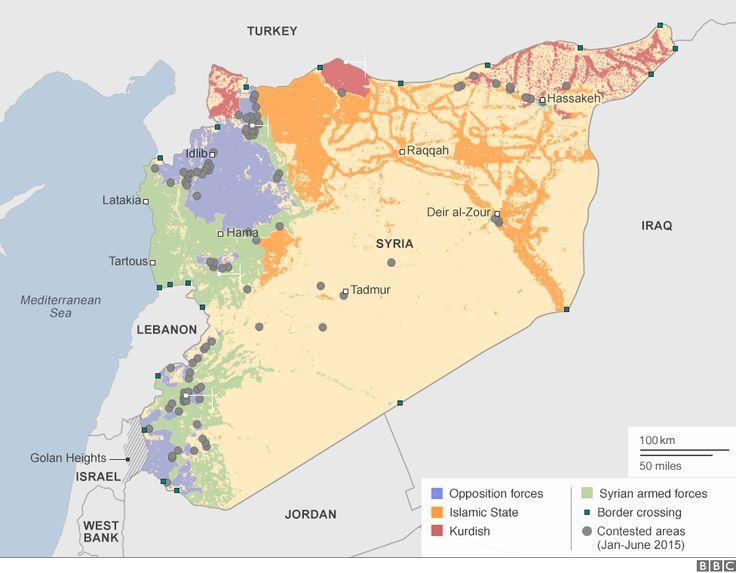 Postępy IS w Syrii (wg. BBC)