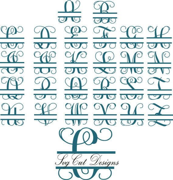 Split letter SVG Split Monogram Letters Split by svgcutdesigns
