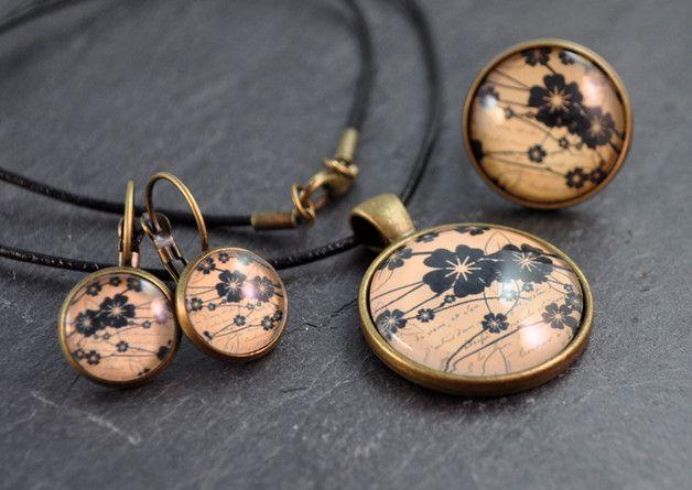 Ohrhänger - Schmuckset Kette & Ohrringe & Ring bronze - ein Designerstück von colorful-daydreams bei DaWanda