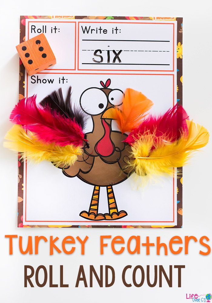 This turkey feathers roll and count math game for fall is a great way to work on number recognition during November! Kids will love putting the feathers on the turkey as they count and write the numbers.#preschool #kindergarten #math