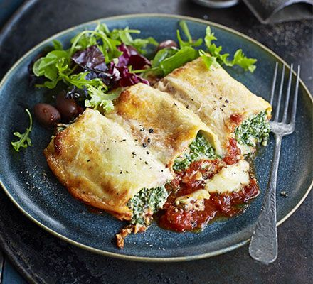Substitute the Parmesan as this is NOT Vegetarian!  Stuff rolled lasagne sheets with creamy spinach and ricotta and bake with tomato and mascarpone sauces for a filling vegetarian meal