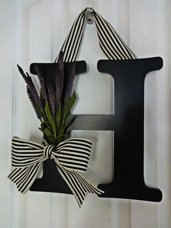 Fall And Summer Purple Cattail Wreath, Fall Monogram Wreath, Black And  White Wreath, Front Door Letter, Autumn Letter Wreath