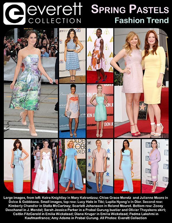 Keira Knightley in Mary Katrantzou; Chloe Grace Moretz and Julianne Moore in Dolce & Gabbbana. Lucy Hale in Tibi; Lupita Nyong'o in Dior. Second row: Kimberly Chandler in Stella McCartney; Scarlett Johansson in Roland Mouret. Bottom row: Zooey Deschanel in J. Mendel; Sarah Jessica Parker in a Prabal Gurung bustier and Olivier Theyskens skirt; Caitlin FitzGerald in Emilia Wickstead; Diane Kruger in Emilia Wickstead; Padma Lakshmi in Kaufmanfranco; Amy Adams in Prabal Gurung.