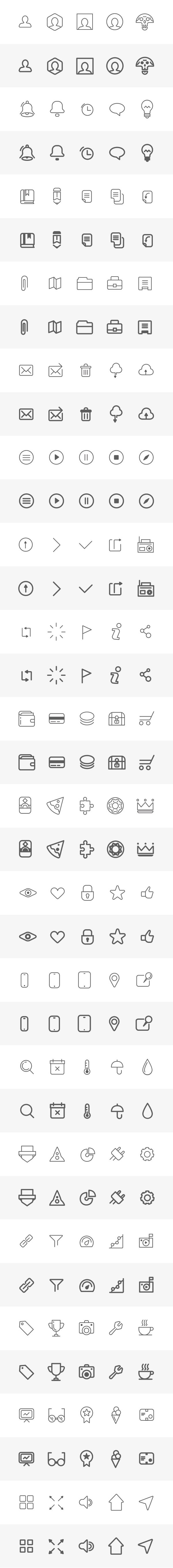 Build your wireframe with simple lines icons PSD file with 90 vector icons on in two versions 50 icons on