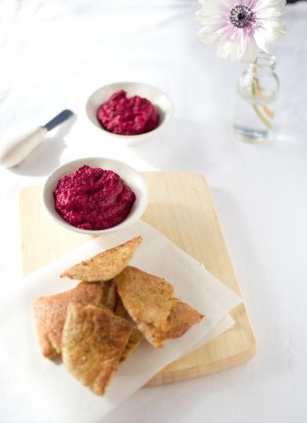 beetroot dip and pita chips