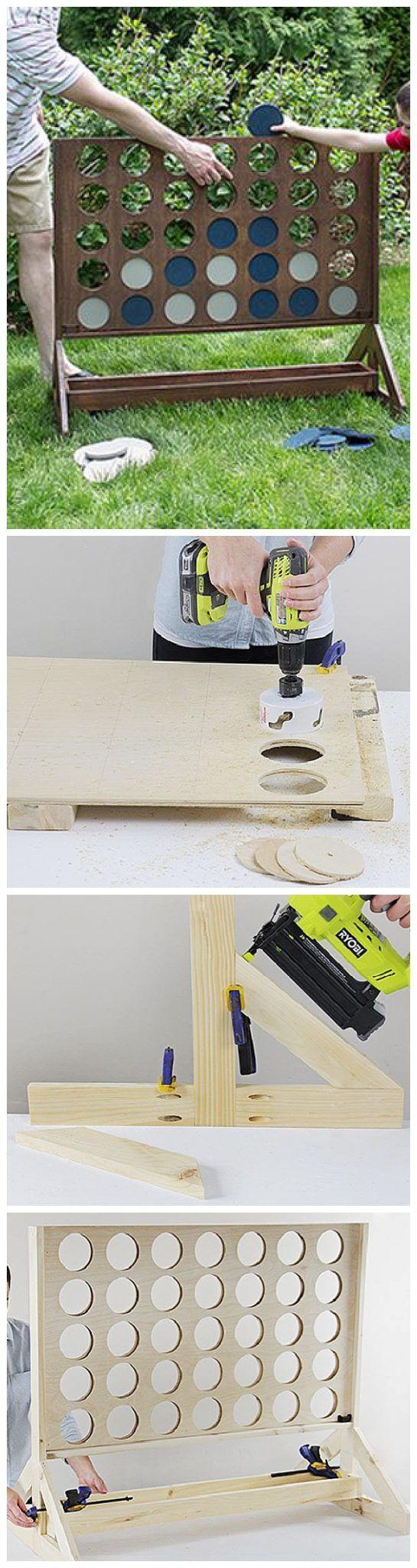 DIY Projects - Outdoor Games - Do It Yourself Connect Four or Four in a Row Game - Easy Woodworking Project - So fun for backyard parties - Tutorial via The Home Depot Blog