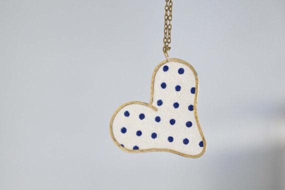 Polka dot summer heart necklace Brass heart brass chain by zOOzART, $23.00
