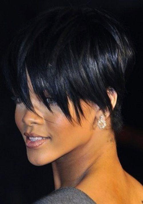 Rihanna short tapered haircut
