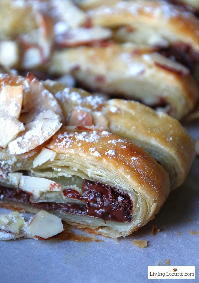 Warm gooey chocolate baked inside of a tasty crescent puff pastry. Easy almond topped chocolate braid recipe for brunch, breakfast, or school party.