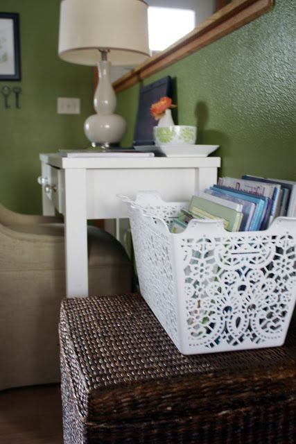 IHeart Organizing: You Asked: Basket Case nightstand storage