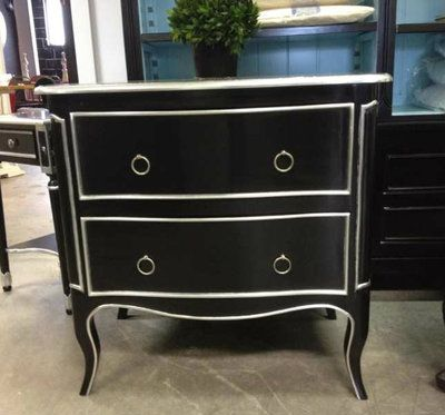 Frejus French Commode - Black with Silver Trim - Canalside Interiors