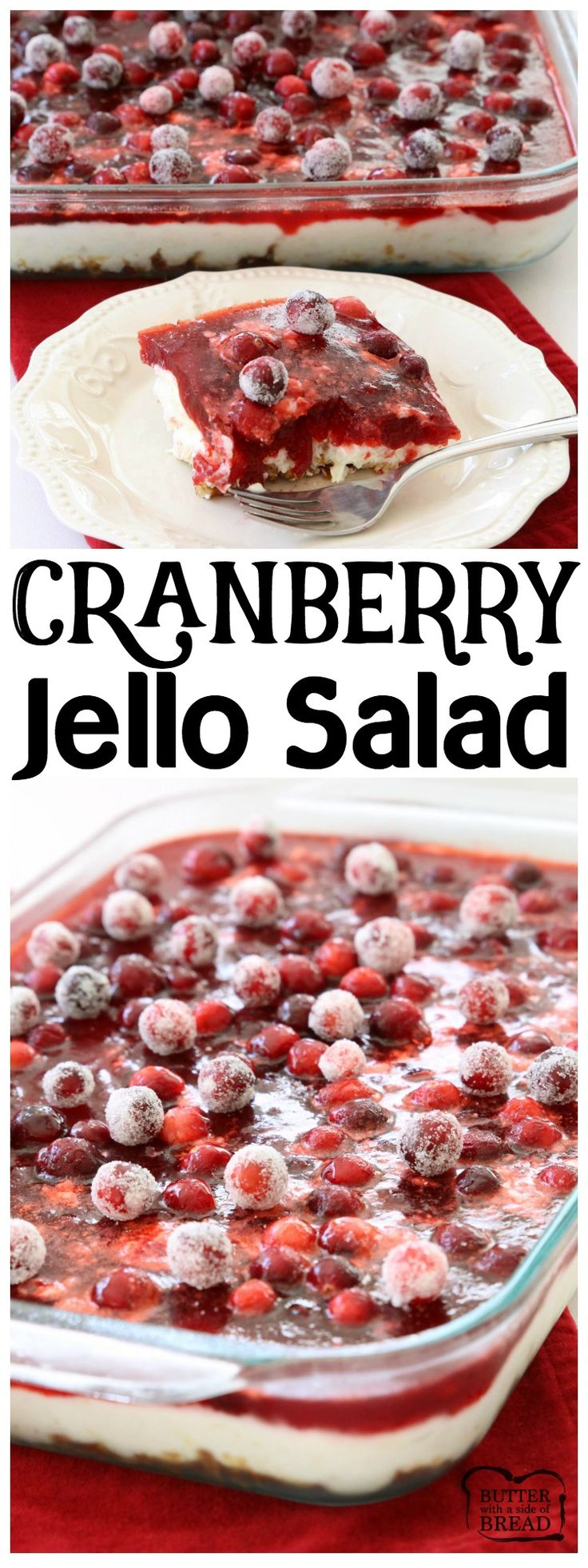 Cranberry Jello Salad made with 3 festive, delicious layers of pretzels, pudding, cranberries & Jello!