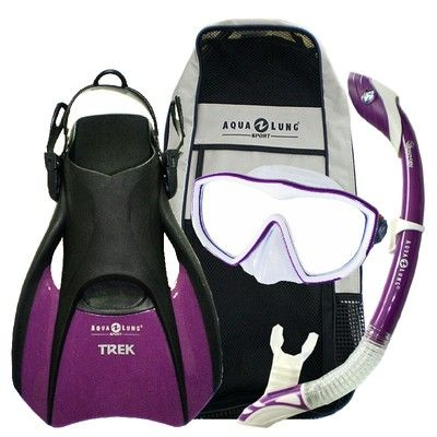Aqua Lung Sport Diva Snorkel Mask, Island Dry Snorkel and Trek Travel Fins are a great combo for the ladies. Colors and sizes are available.