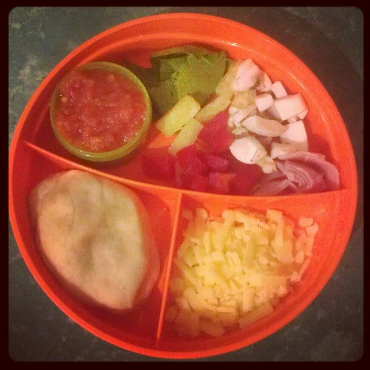 """Toddler meal kit """"DIY pizza"""".... 2 year old O loves making his own up, cooking and eating it!"""