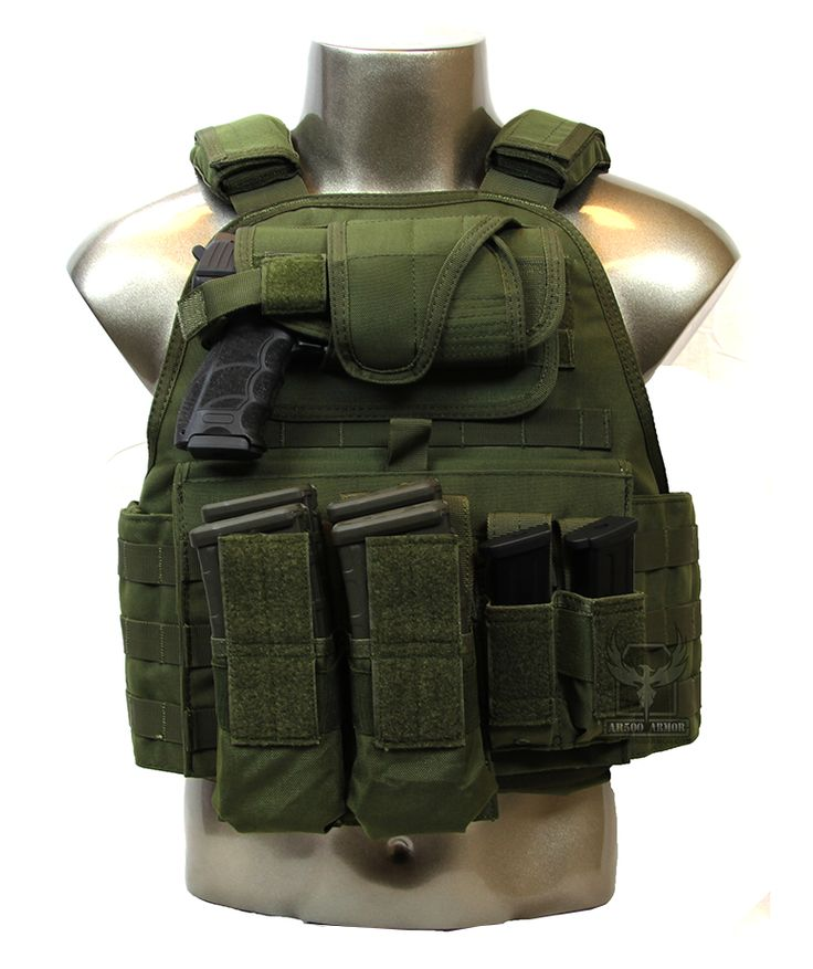 "Operator II Side with Pouches and AR500 Body Armor 10"" x 12"" Formed Trauma Plates Installed"