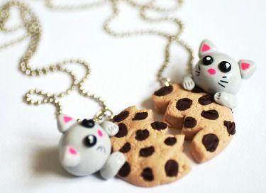 Ketten & Colliers - Freundschafts/ Partnerkette Cookie-Cat - ein Designerstück von SweetCandice bei DaWanda