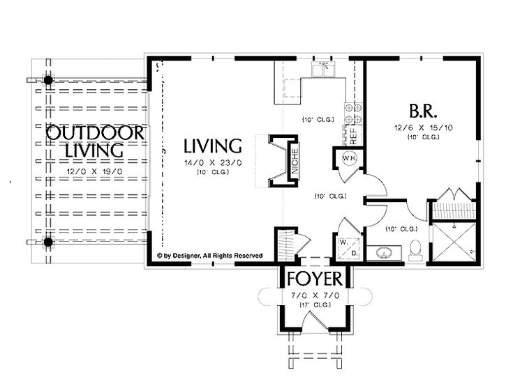 Simple one bedroom house plans home plans homepw02510 for 1 bedroom cottage floor plans