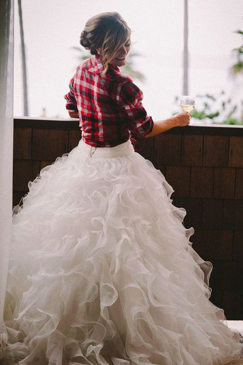 Unique A flannel shirt over your wedding dress is one of the cutest ways to give your