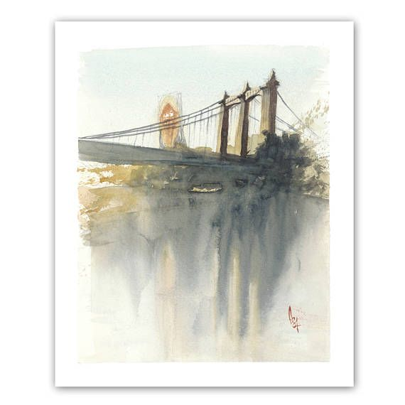 Fine art print of an original watercolor painting by Peter S. Johnson. A view of the Grain Belt sign and Hennepin Avenue bridge across the Missisippi River towards Northeast Minneapolis, MN. Archival giclee print on premium velvet fine art paper. 8x10 image size, with an approximately 1/2 white border.