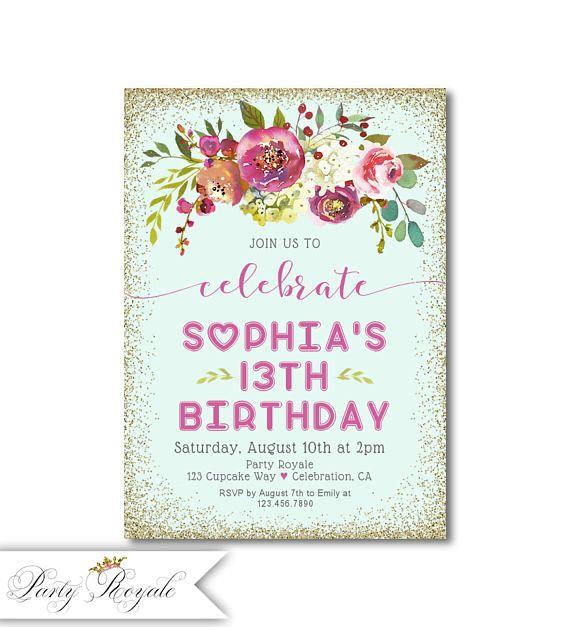 Girls 13th Birthday Invitations Teen Birthdays Faux Gold