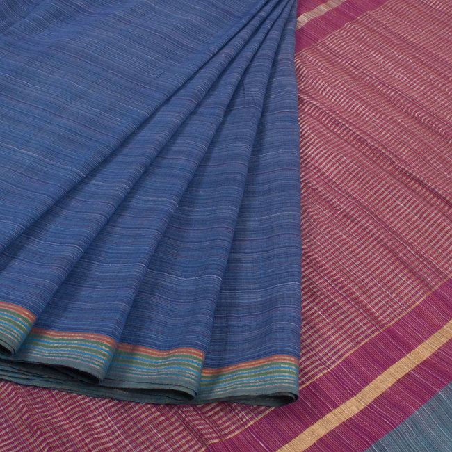 Buy online Handwoven Blue Khadi Cotton Saree With Stripes 10013785