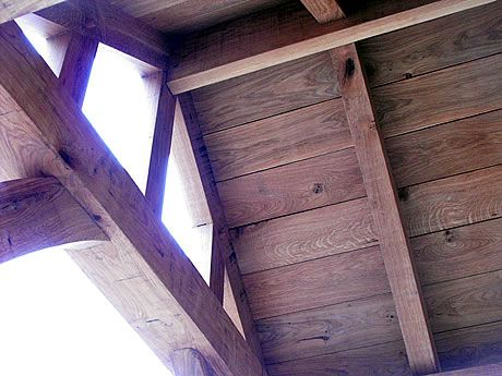 Exposed Oak Boards And Rafters for a porch