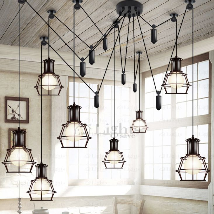 10 Light Country Style Industrial Kitchen Lighting Pendants Cage