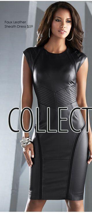 VENUS Fall Collection - Faux Leather Sheath Dress $59