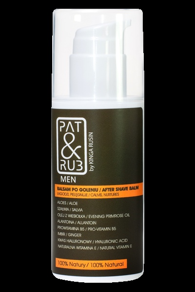 After-shave Balm PAT & RUB Men. Soothes irritations and repairs after the impact of shaving. Moisturizes the skin and protects from aging. 100% eco-certified ingredients