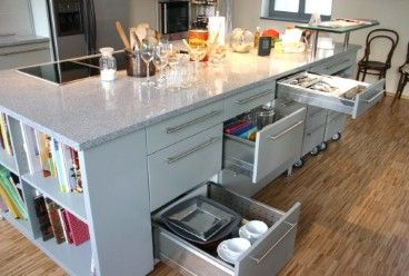 Einbauküche mit Kochinsel und Stehbar - Kochinsel