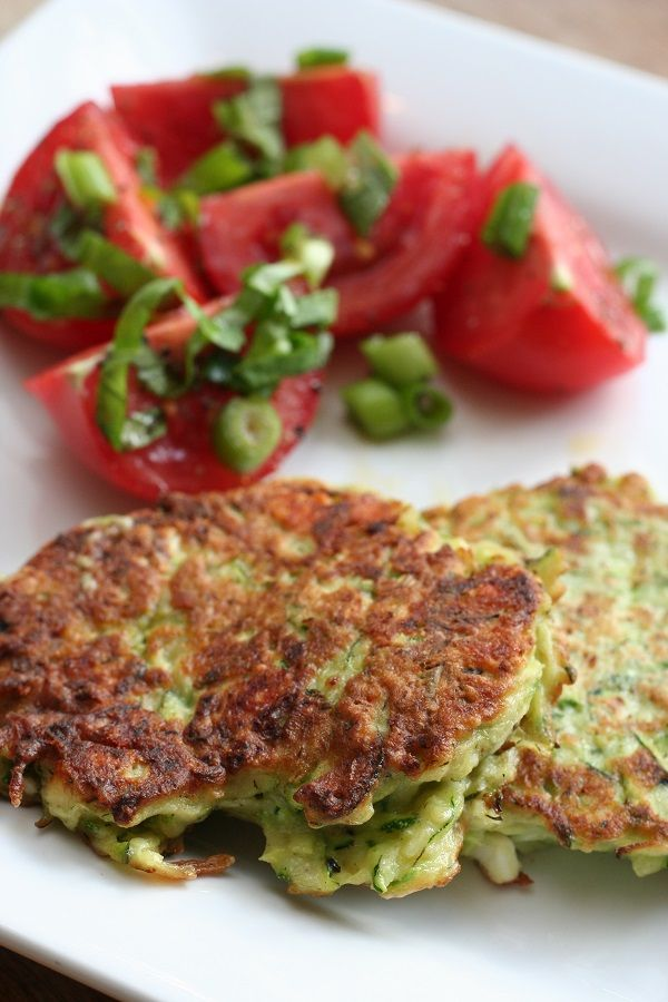 Zucchini Fritters with Feta and Dill and Tomato Salad