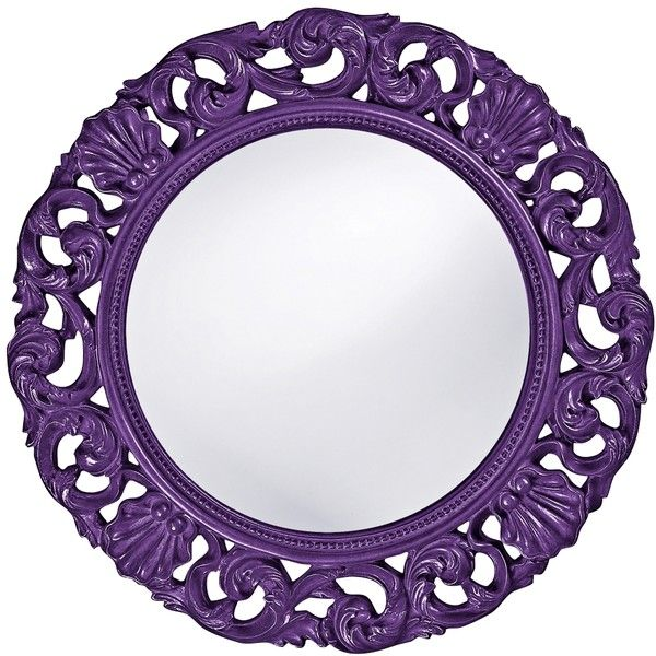 """Howard Elliott Glendale 26"""" Round Royal Purple Wall Mirror (€170) ❤ liked on Polyvore featuring home, home decor, mirrors, purple, purple home decor, colored wall mirrors, round wall mirror, colored mirrors and purple home accessories"""