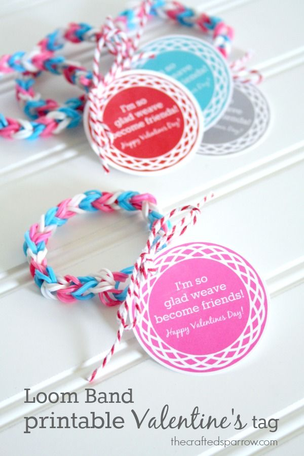 "Loom Band Printable Valentine's Tags ""I'm so glad weave become friends!""   thecraftedsparrow..."
