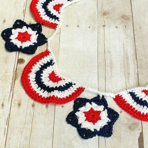 Small American Flag Crochet Pattern : Star Spangled Banner Crochet Bunting Decor, Tutorials ...