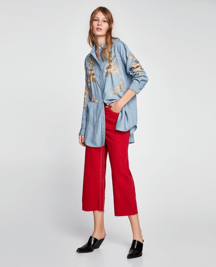 LONG EMBROIDERED SHIRT-View All-TOPS-WOMAN   ZARA United Kingdom