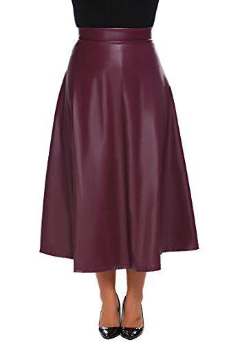 563ed2f05ee86 Zeagoo Womens Plus Size High Waist A Line Swing Long Leather Skirt (16W-24W)