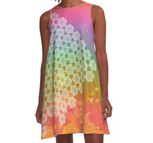 The Spirit of a Healing Mountain A-Line Dress by Polka Dot Studio, bright pastel #graphic #mandala #abstract #art on #fashion #apparel for #her. Perfect for dress casual, spring and summer #travel, #work or fun social event. Wherever you will be seen as trendy yet making your own unique statement.