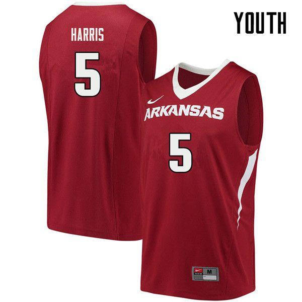 Youth 5 Jalen Harris Arkansas Razorbacks College Basketball Jerseys Sale Cardinal Basketball Jersey College Basketball Jersey Arkansas Razorbacks