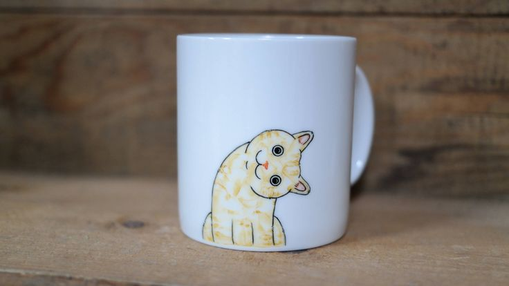 Hand painted animal mug cup - Cute  mug cup - Cat  mug - Cute cat -head slantwise cat by CreativeStoneCera on Etsy