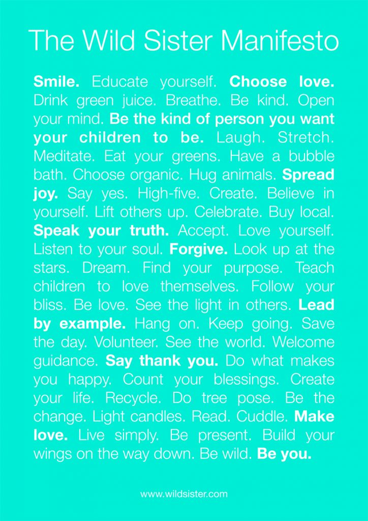 Manifesto of a Wild Sister {Inspirational Print For You}