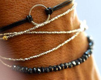 Bracelet - bracelet wrap - délicat bracelet de perles d'argent