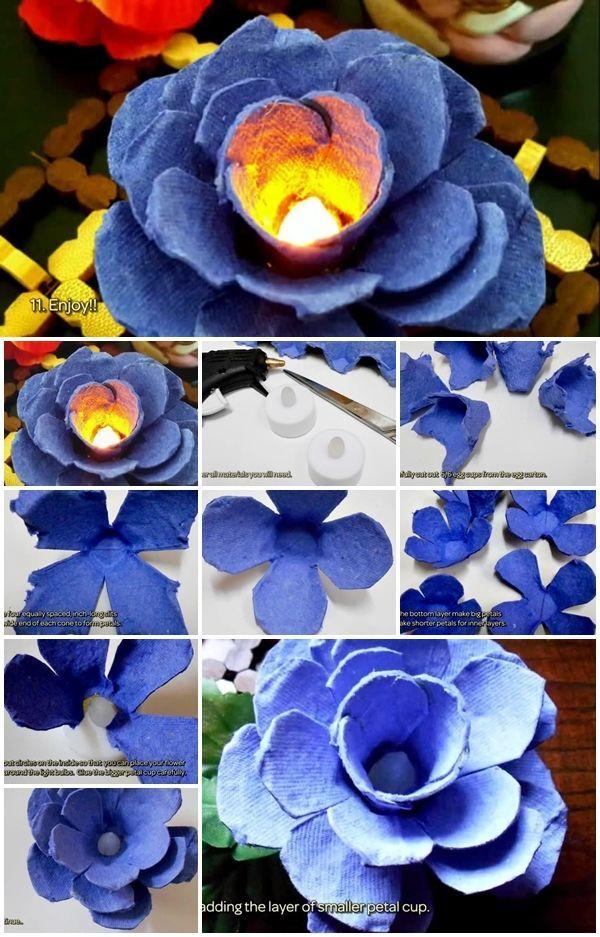 How To Make Egg Carton Flower Light